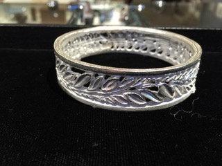 Sterling Silver Cast, Carved Leaf Bangle