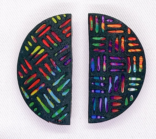 One of a kind brightly patterned & carved polymer earrings