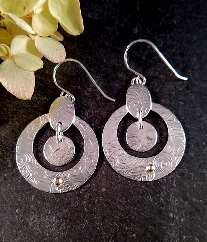 Sterling Silver, Embossed Circle Earrings