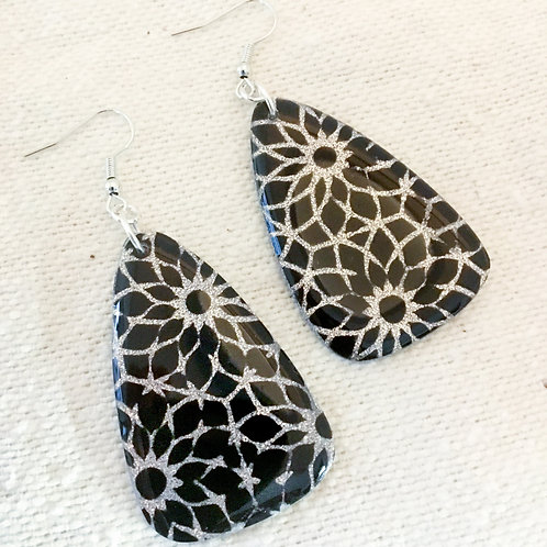 Black and Silver Bling Earrings