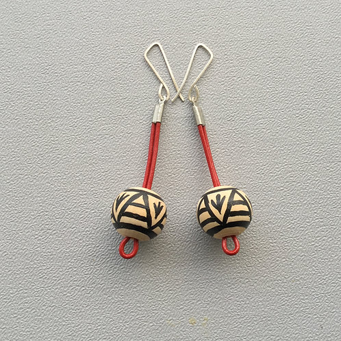 Sterling Silver Earrings with Hand-painted Wood Beads