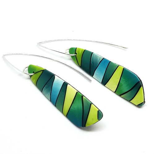 Blue and Green Striped Earrings