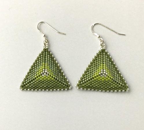 Beaded Triangular Earrings in Green Ombre