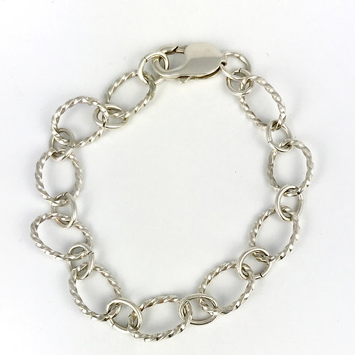 Sterling Silver Oval Twist Bracelet