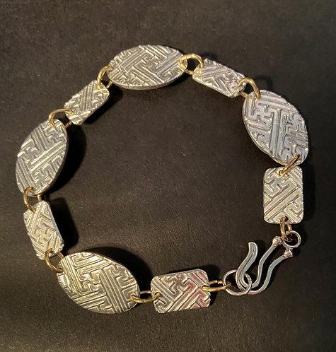 Textured Bracelet with Bronze Links