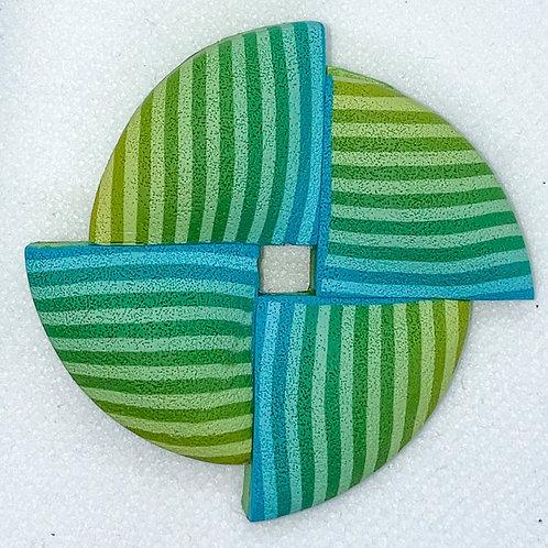 Aqua and Lime Pinwheel Pin