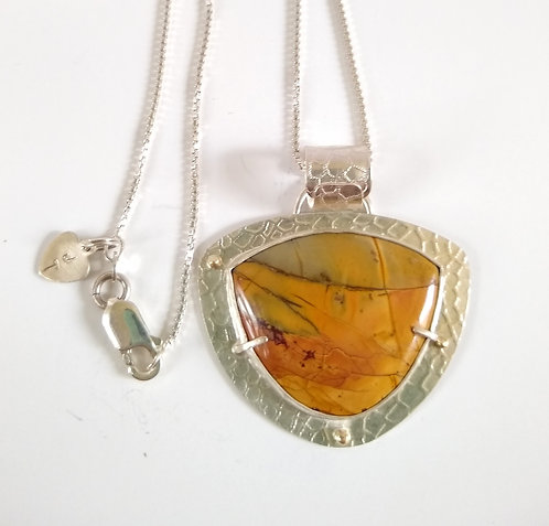 Sterling Silver, 14K Gold Accents Rhyolite Pendant