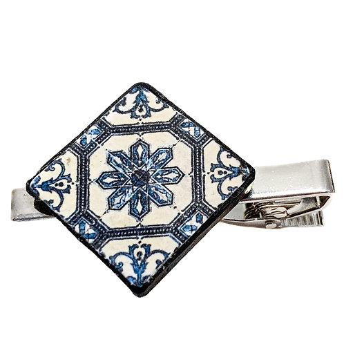 Floral Tile Tie Clip
