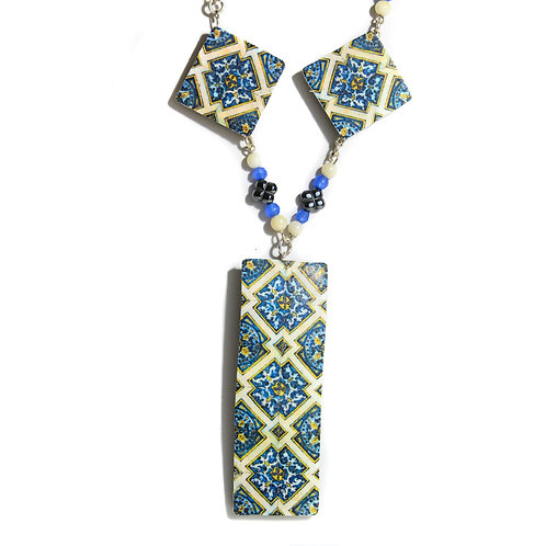 Geometric Tile Necklace with Beads