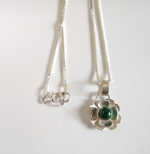 Sterling Silver Flower Pendant With Malachite