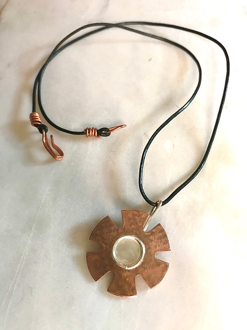 Necklace with Sterling Silver & Brass Textured Flower Shape