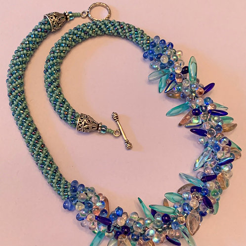 Teal and Blue Hues Drops and Daggers with Russian Spiral
