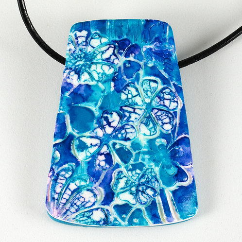 Textured Pendant in Teal and Blue with Batiked Flowers