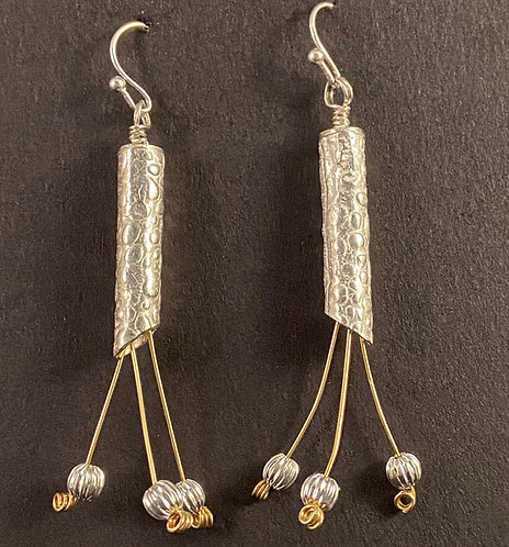 Textured Tube Earrings with Gold Wire Dangles and Sterling Beads