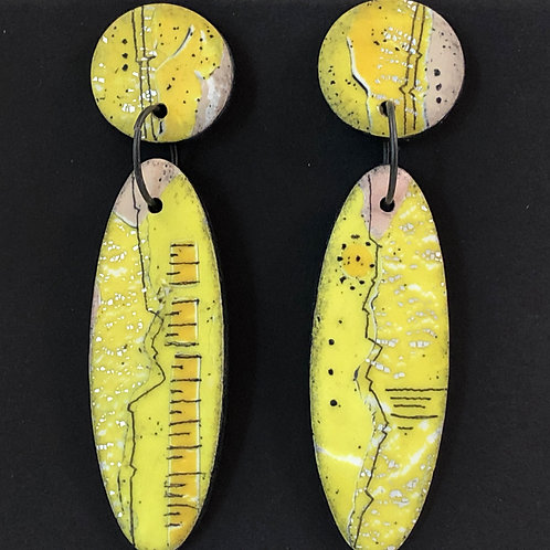 Distressed Yellow Oval Earrings with Markings