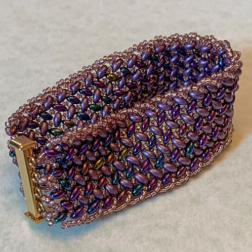 Royal Purple, Mauve and Gold Bracelet with Gold Slide Clasp