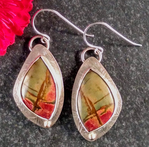 Sterling, 14k gold accent Rhyolite earrings