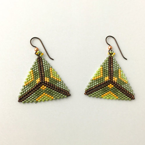 Beaded Triangular Earrings in Green/Yellow Star Pattern