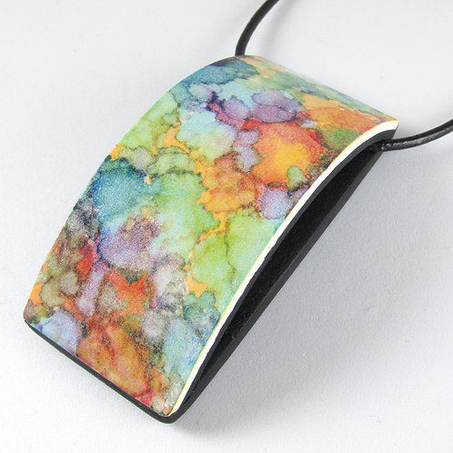 Curved Pendant with Pastel Design from Original Artwork