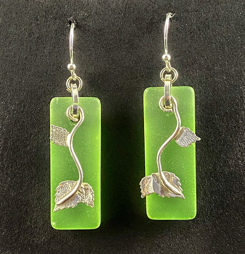 Glass with Fine Silver leaf overlay earrings