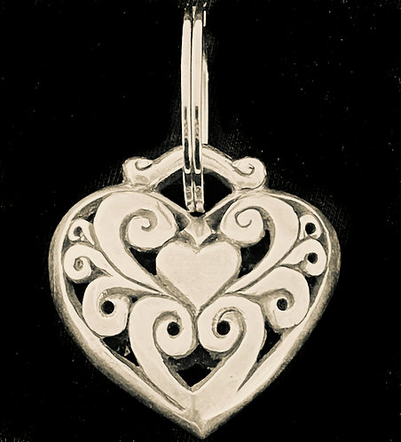 Sterling Silver Cast Heart Keychain