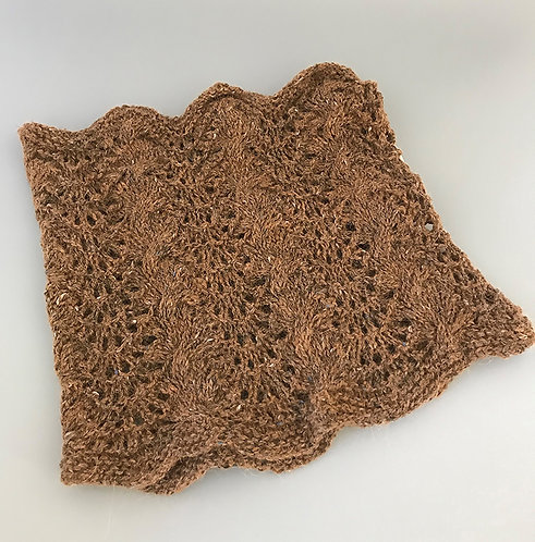 Brown Tweed Lace Neck Warmer