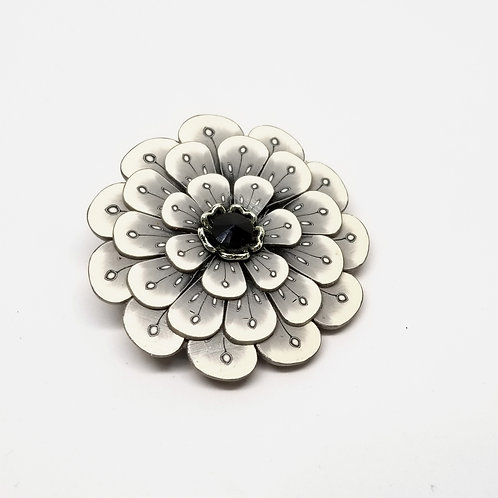 Black and White Flower Pin