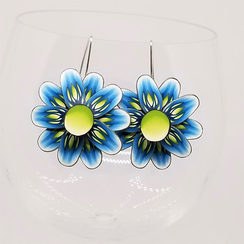 Blue and Green Spinning Earrings