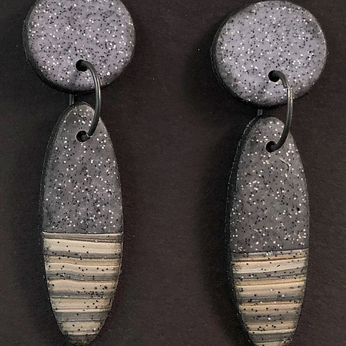 Granite with Beige and Grey Striped Oval Earrings