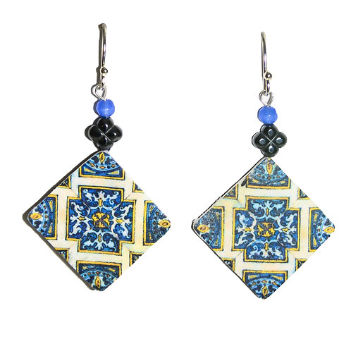 Geometric Tile Earrings with Beads