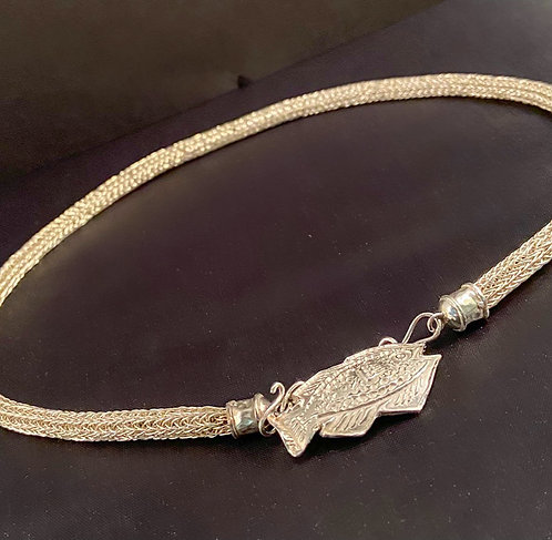 Hand-Woven Argentium Necklace with Fish Clasp