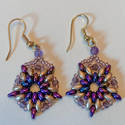 Royal Purple, Mauve and Gold Beaded Earrings