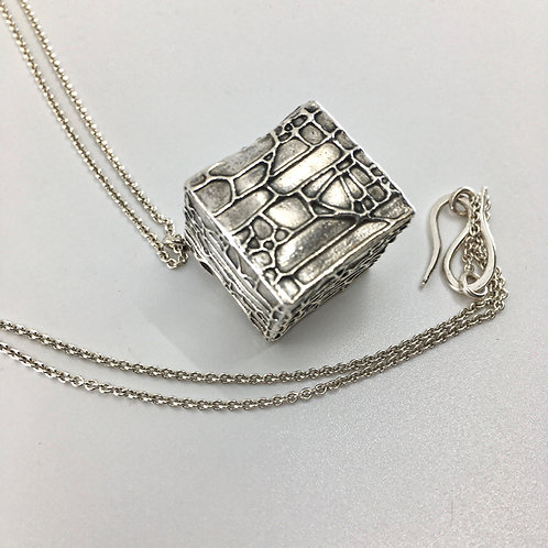 Patterned Hollow Form Cube Pendant