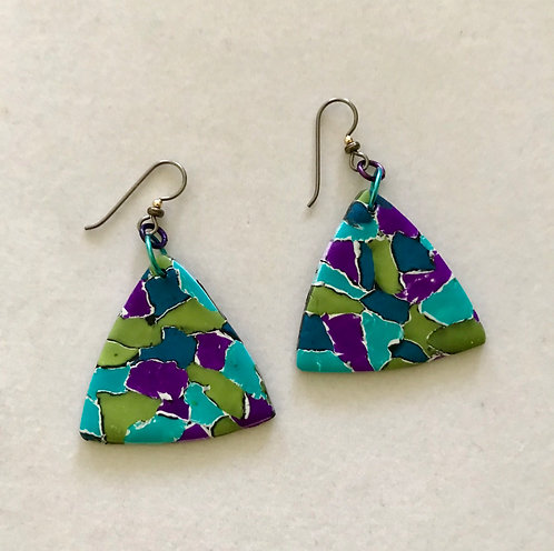 Polymer Puffy Triangle Earrings Turquoise & Blue point up