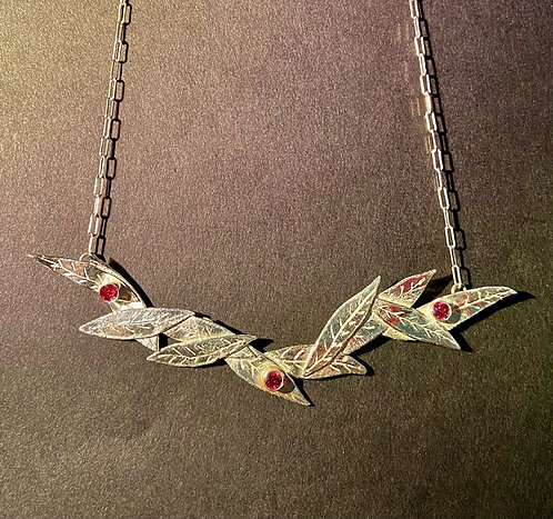 Leaves and Garnet Necklace
