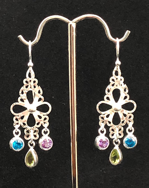 Sterling silver, peridots, topaz and cubic zirconia