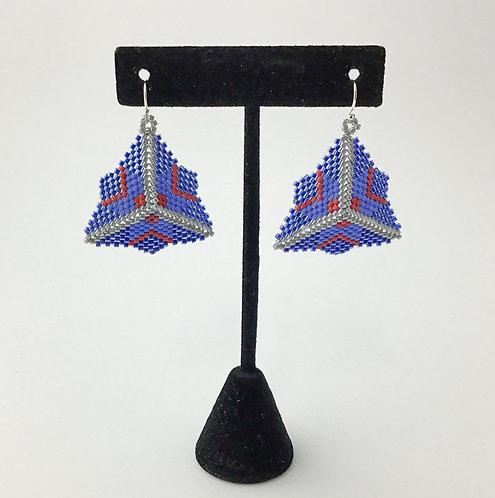 Beaded Triangular Earrings in Blue Star Pattern - 6 Points