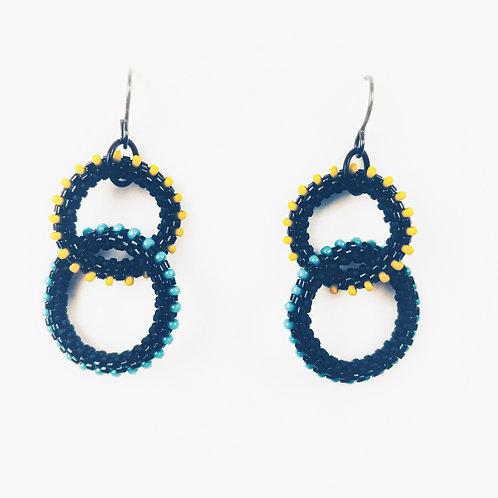 Yellow+Turquoise Dotty Rings Earrings