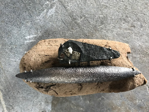 Sterling Silver, Shibuichi, Hematite In Shale Brooch