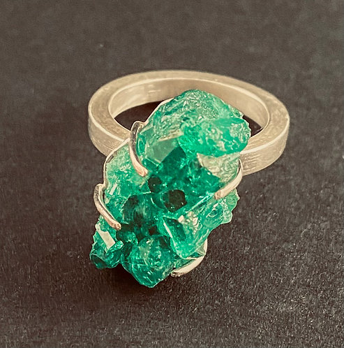 Emerald Crystals in Sterling Setting