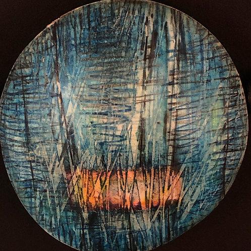 Layered Colored Pencil Blue Circle Pendant