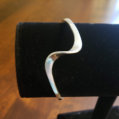 "Sterling Silver Cuff, forged ""wave"""