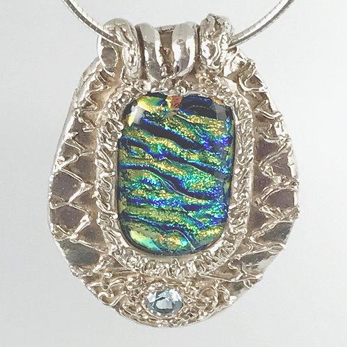Dichroic glass with Aquamarine