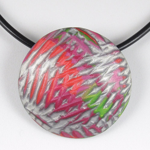 Domed Pendant in Pink, Green and Silver