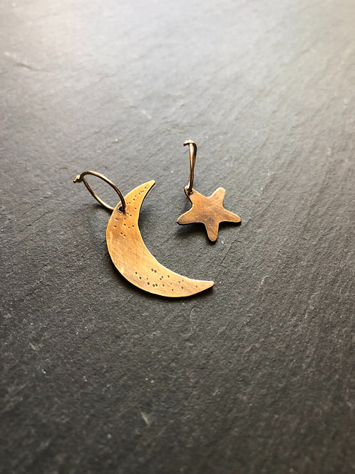 Bronze and gold fill moon and star