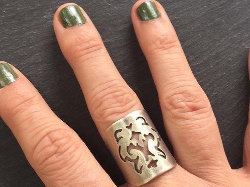 Victorian pattern pierced cuff ring size 7-7.5