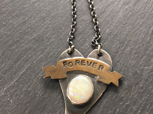 Forever heart pendant with opal