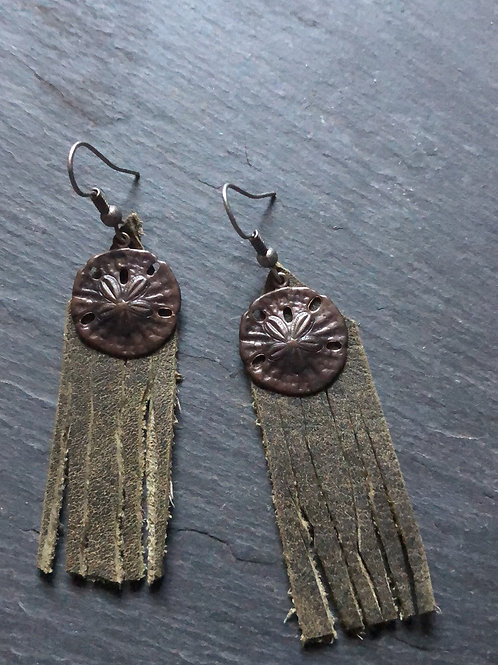 Leather dangles with brass sand dollar