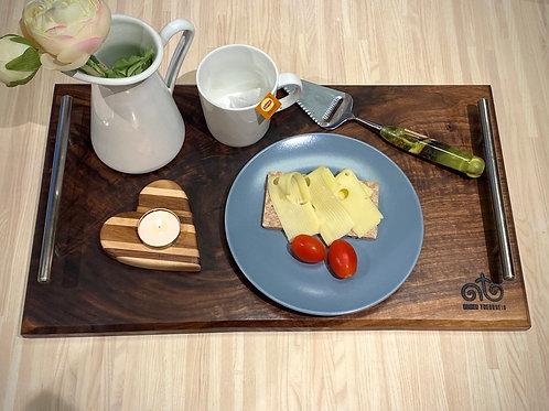 Serveringsbrett/ostefat i valnøtt