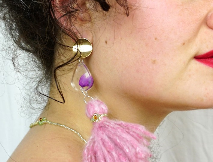 Bleeding Heart Tassel Earrings